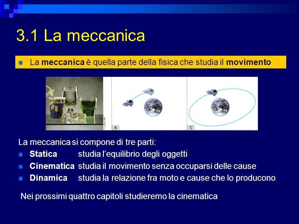 3.1 La meccanica Nei prossimi quattro capitoli studieremo la cinematica La meccanica è quella parte della fisica che studia il movimento La meccanica