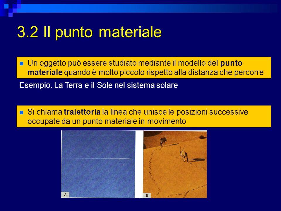 3.2 Il punto materiale Un oggetto può essere studiato mediante il modello del punto materiale quando è molto piccolo rispetto alla distanza che percorre Esempio.