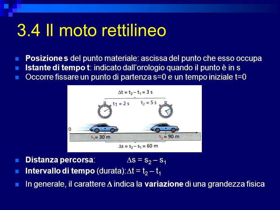 3.4 Il moto rettilineo In generale, il carattere indica la variazione di una grandezza fisica Distanza percorsa: s = s 2 – s 1 Intervallo di tempo (du