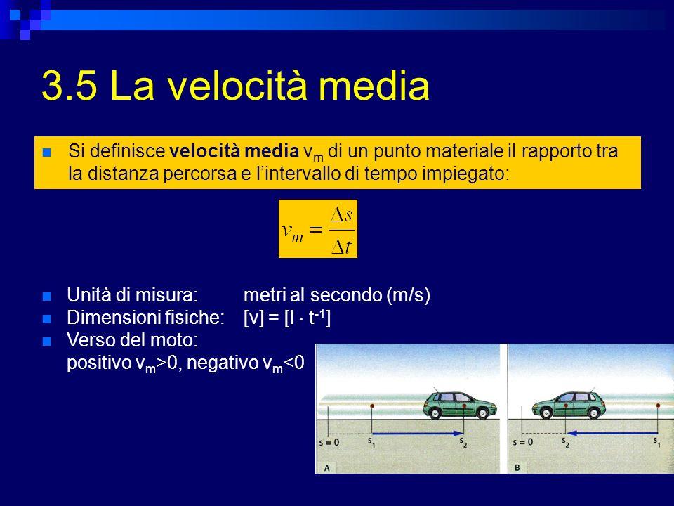3.5 La velocità media Si definisce velocità media v m di un punto materiale il rapporto tra la distanza percorsa e lintervallo di tempo impiegato: Unità di misura:metri al secondo (m/s) Dimensioni fisiche:[v] = [l t -1 ] Verso del moto: positivo v m >0, negativo v m <0