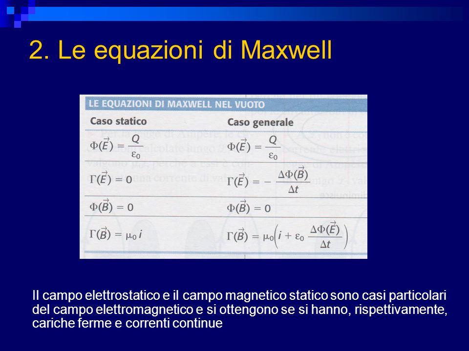 Il campo elettrostatico e il campo magnetico statico sono casi particolari del campo elettromagnetico e si ottengono se si hanno, rispettivamente, car