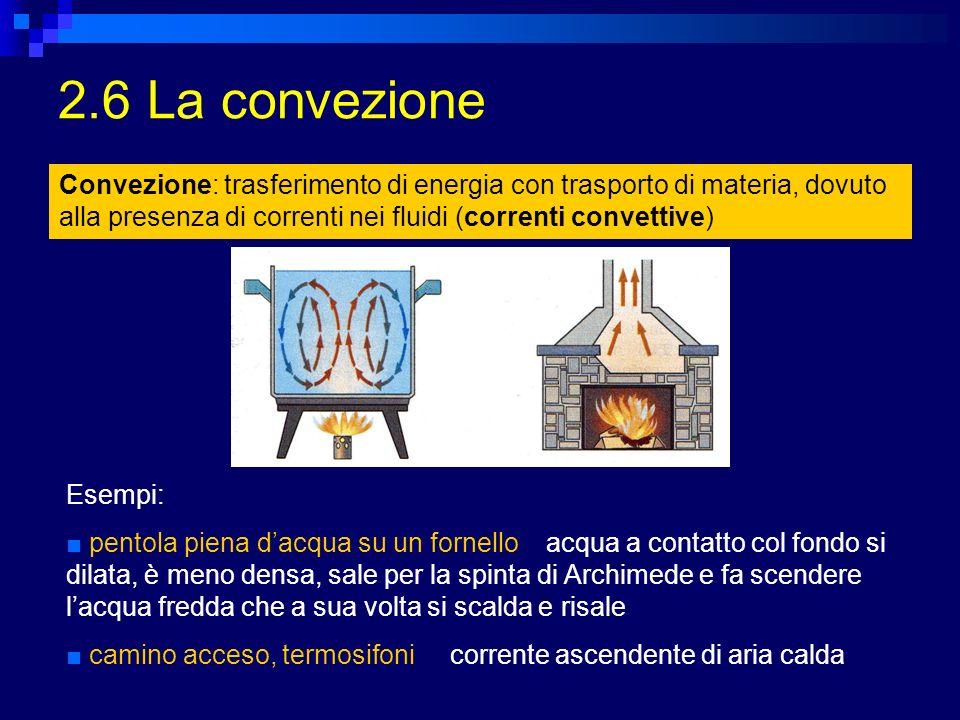 2.7 Lirraggiamento Irraggiamento: trasmissione del calore nel vuoto o attraverso corpi trasparenti (esempio, il calore del Sole) Tutti i corpi emettono (e assorbono) radiazioni elettromagnetiche, che trasportano energia (calore) Corpi caldi emettono luce visibile (colore dipende dalla temperatura) Corpi a temperatura ambiente emettono radiazione infrarossa Lenergia che un corpo emette ogni secondo sotto forma di onde elettromagnetiche dipende dalla sua temperatura (alla quarta potenza) e dallarea della sua superficie (legge di Stefan-Boltzmann) Applicazioni: Informazioni sui corpi celesti (temperatura, dimensioni) Medicina (termografia infrarossa)
