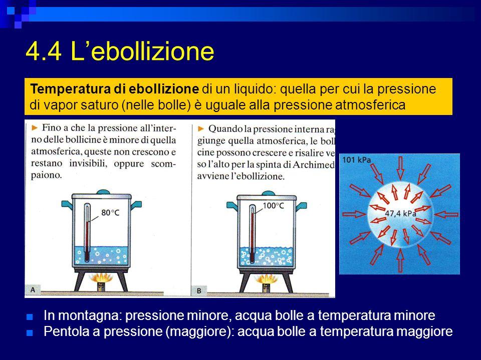 4.4 Lebollizione In montagna: pressione minore, acqua bolle a temperatura minore Pentola a pressione (maggiore): acqua bolle a temperatura maggiore Te