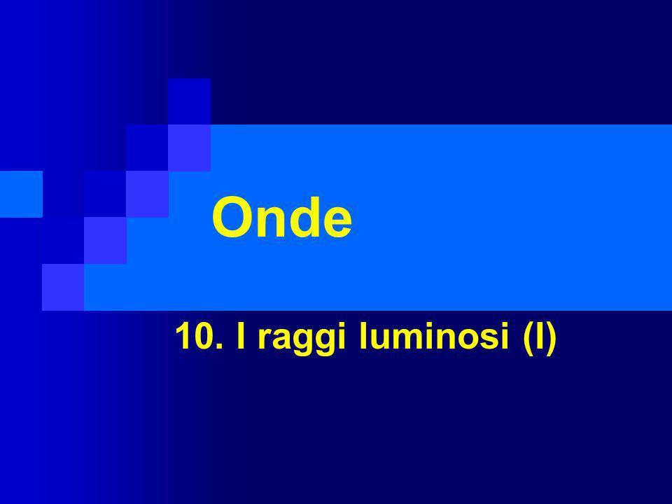10.1 La luce La luce è unonda elettromagnetica Sorgente (o corpo) luminosa: oggetto che emette luce propria.