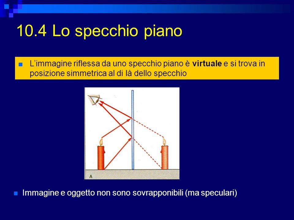 10.5 Specchi parabolici Sono particolari specchi curvi, in cui tutti i raggi paralleli allasse ottico che colpiscono la parte concava vengono riflessi in un punto (fuoco) Applicazioni: telescopi astronomici, antenne paraboliche (microonde) Al contrario, mettendo una sorgente luminosa nel fuoco, si ottiene un proiettore: la luce viene riflessa in un fascio ristretto di raggi paralleli allasse ottico (fanali delle auto, spot luminosi, torce elettriche, ecc.)
