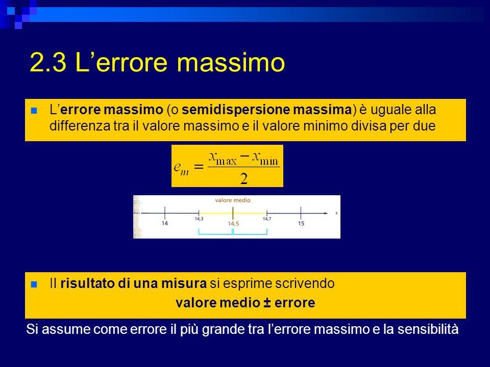2.3 Lerrore relativo Permette di stabilire quale di due misure è più precisa Lerrore relativo e r è il rapporto tra lerrore x e il valore medio Lerrore percentuale e % è lerrore relativo espresso in forma percentuale