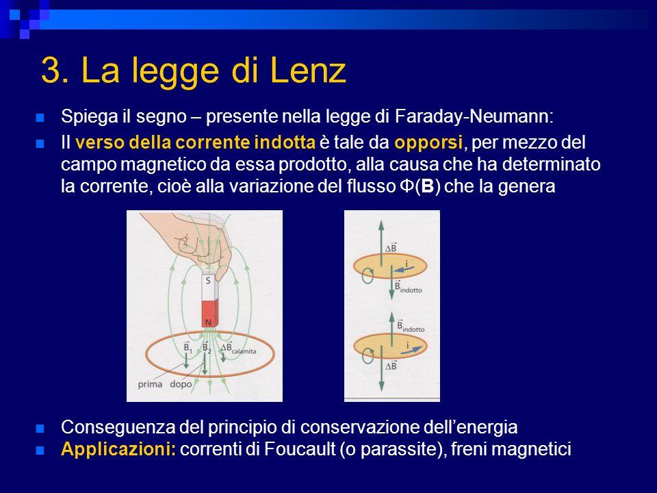3. La legge di Lenz Spiega il segno – presente nella legge di Faraday-Neumann: Il verso della corrente indotta è tale da opporsi, per mezzo del campo
