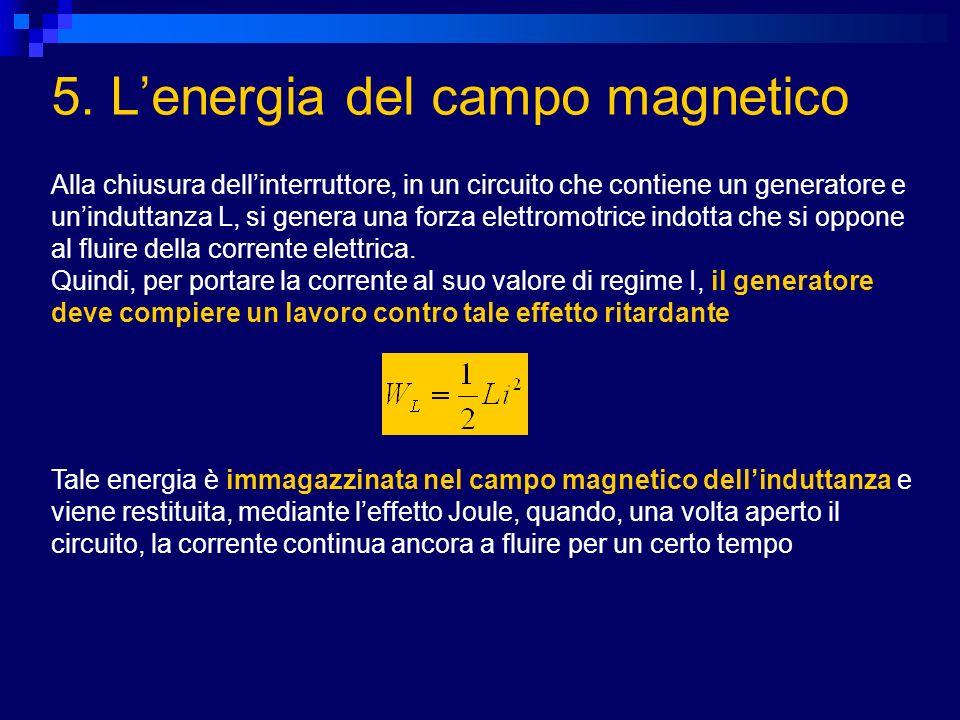 5. Lenergia del campo magnetico Alla chiusura dellinterruttore, in un circuito che contiene un generatore e uninduttanza L, si genera una forza elettr