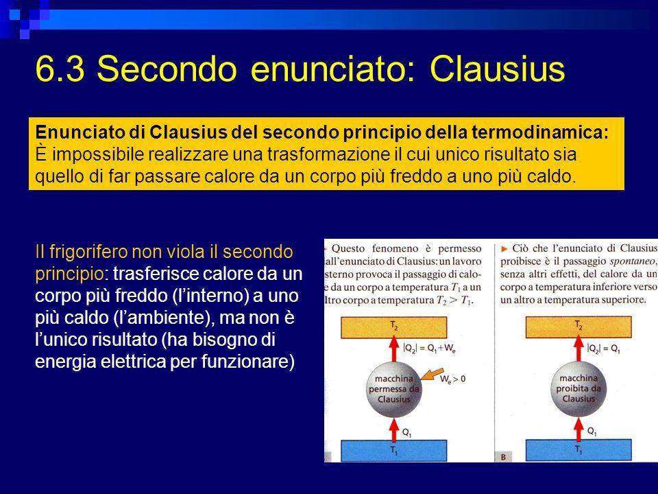6.3 Secondo enunciato: Clausius Il frigorifero non viola il secondo principio: trasferisce calore da un corpo più freddo (linterno) a uno più caldo (l