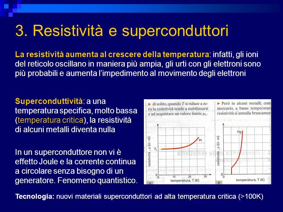 3. Resistività e superconduttori La resistività aumenta al crescere della temperatura: infatti, gli ioni del reticolo oscillano in maniera più ampia,