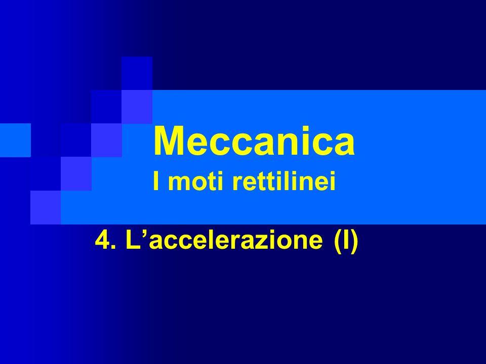 Meccanica I moti rettilinei 4. Laccelerazione (I)