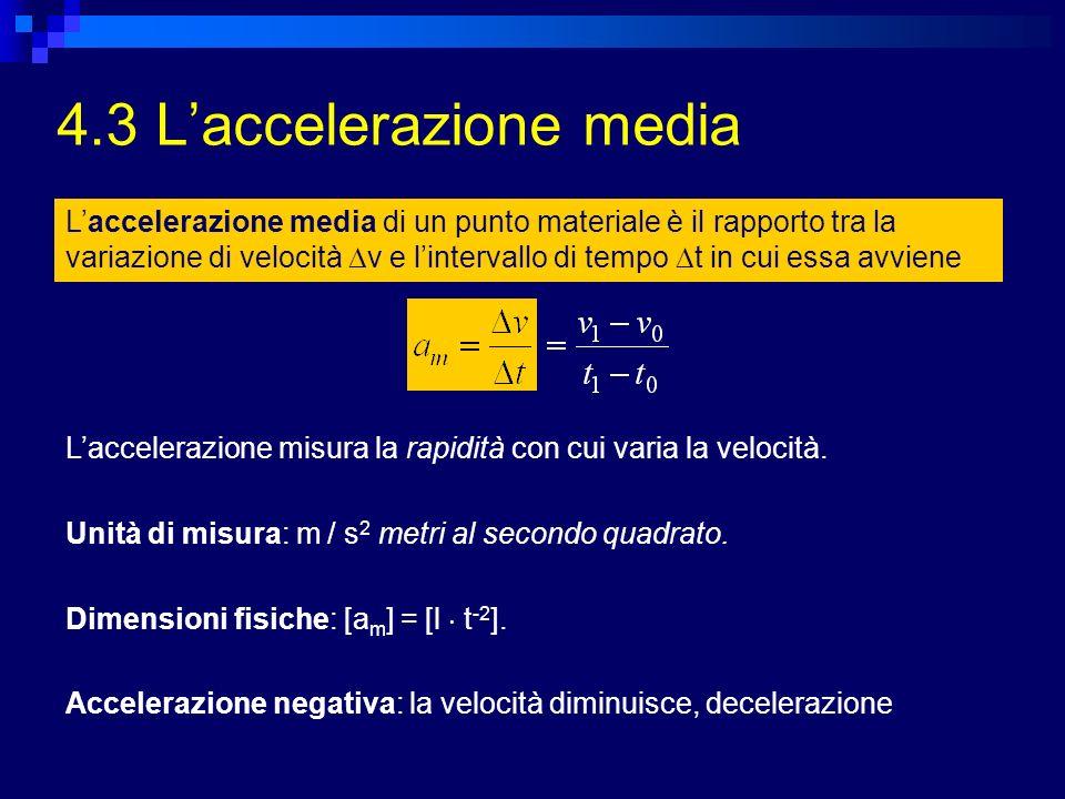 4.3 Laccelerazione media Laccelerazione media di un punto materiale è il rapporto tra la variazione di velocità v e lintervallo di tempo t in cui essa