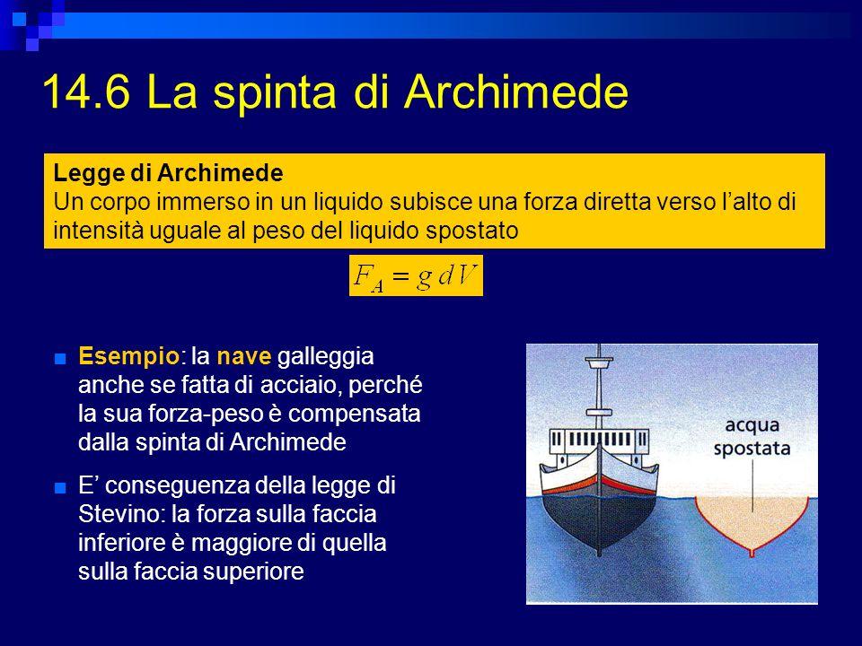 14.6 La spinta di Archimede Esempio: la nave galleggia anche se fatta di acciaio, perché la sua forza-peso è compensata dalla spinta di Archimede E co