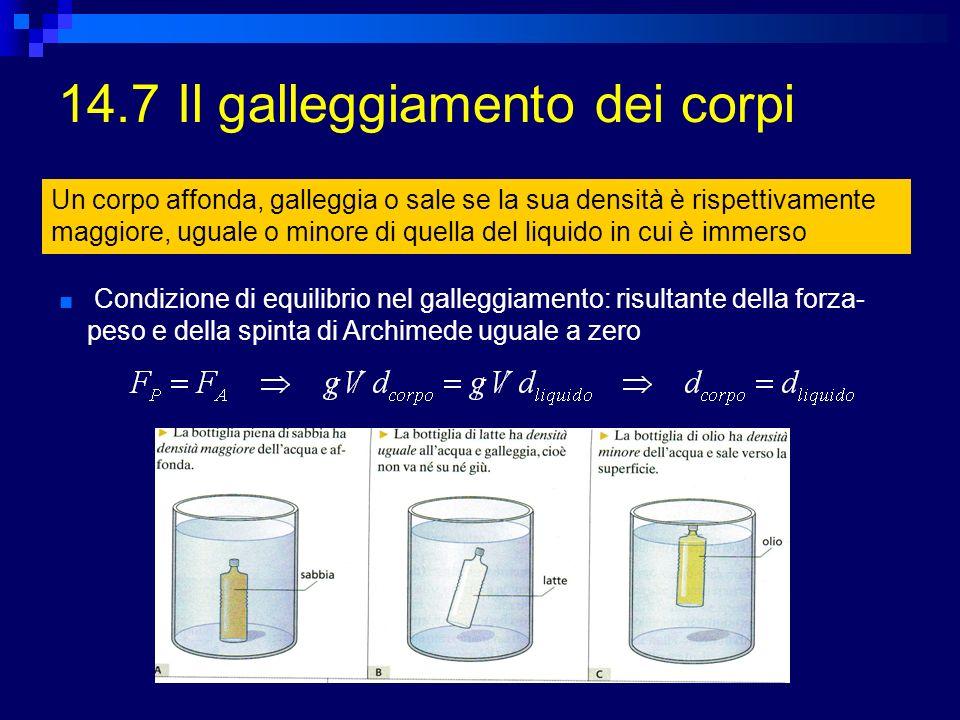 14.7 Il galleggiamento dei corpi Un corpo affonda, galleggia o sale se la sua densità è rispettivamente maggiore, uguale o minore di quella del liquid