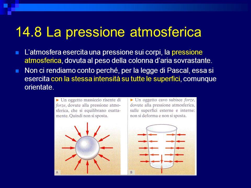 14.8 La pressione atmosferica Latmosfera esercita una pressione sui corpi, la pressione atmosferica, dovuta al peso della colonna daria sovrastante. N