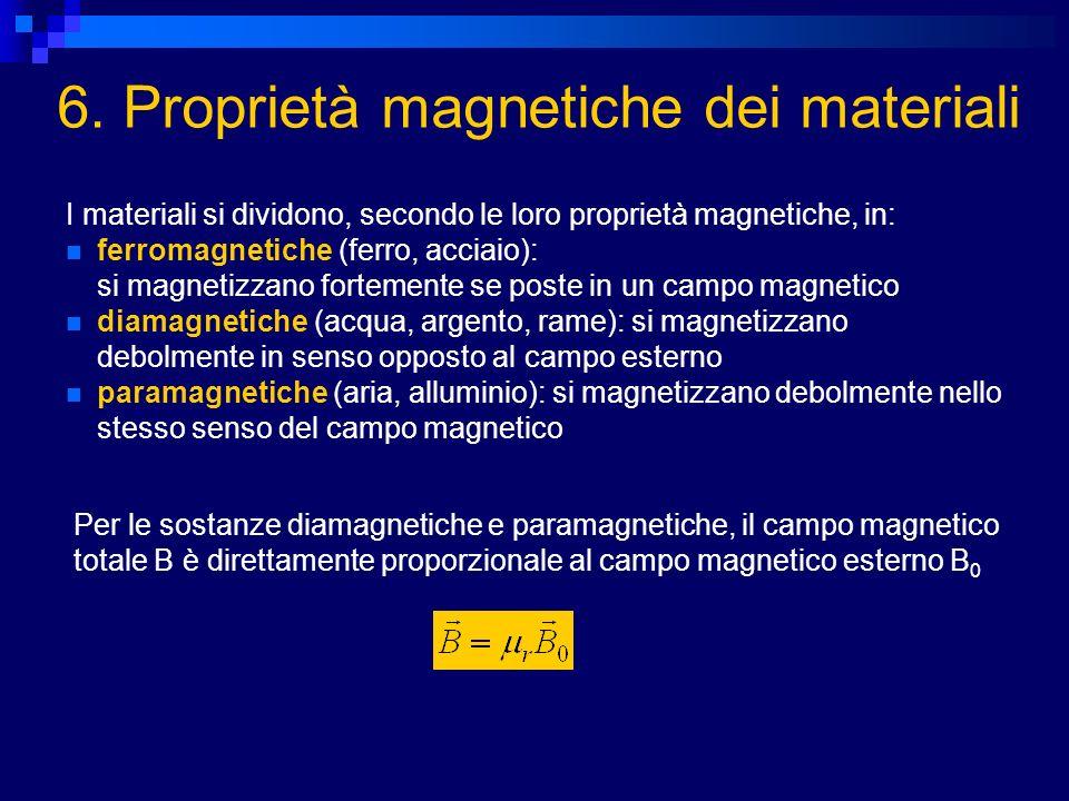 6. Proprietà magnetiche dei materiali I materiali si dividono, secondo le loro proprietà magnetiche, in: ferromagnetiche (ferro, acciaio): si magnetiz