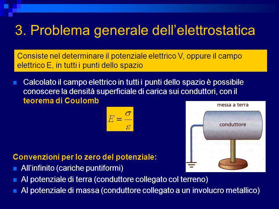 3. Problema generale dellelettrostatica Consiste nel determinare il potenziale elettrico V, oppure il campo elettrico E, in tutti i punti dello spazio