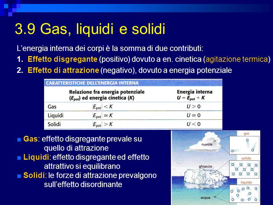 3.9 Gas, liquidi e solidi Lenergia interna dei corpi è la somma di due contributi: 1.Effetto disgregante (positivo) dovuto a en. cinetica (agitazione