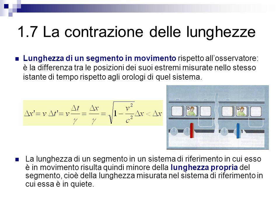 1.7 La contrazione delle lunghezze La lunghezza di un segmento in un sistema di riferimento in cui esso è in movimento risulta quindi minore della lun