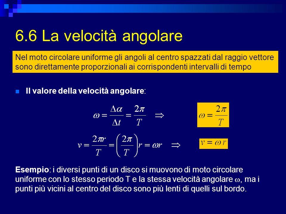 6.6 La velocità angolare Nel moto circolare uniforme gli angoli al centro spazzati dal raggio vettore sono direttamente proporzionali ai corrispondent