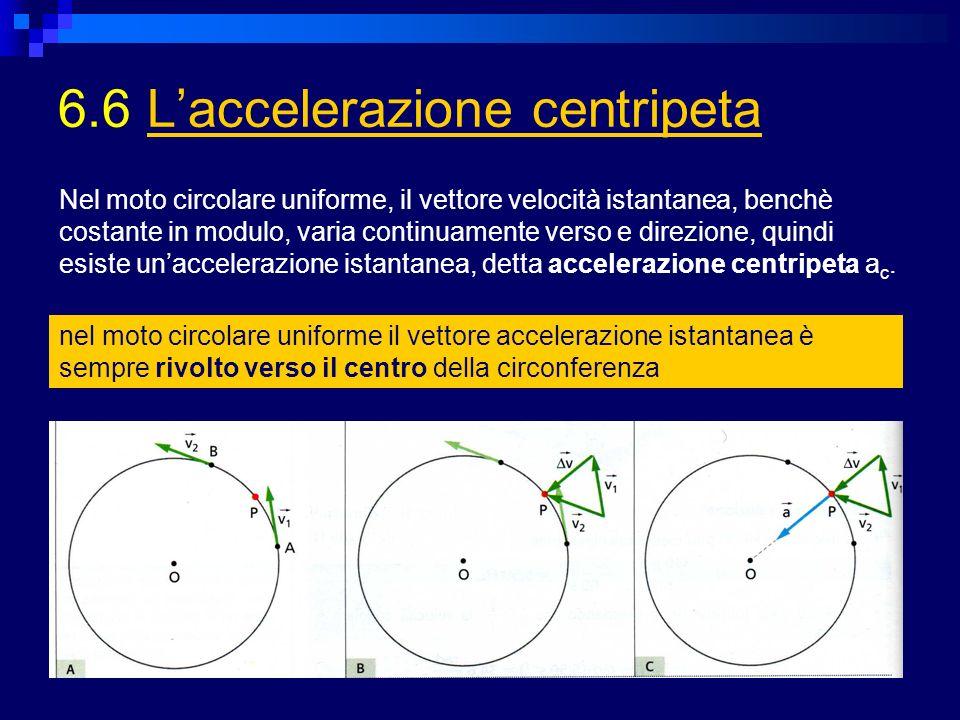 6.6 Laccelerazione centripetaLaccelerazione centripeta nel moto circolare uniforme il vettore accelerazione istantanea è sempre rivolto verso il centr