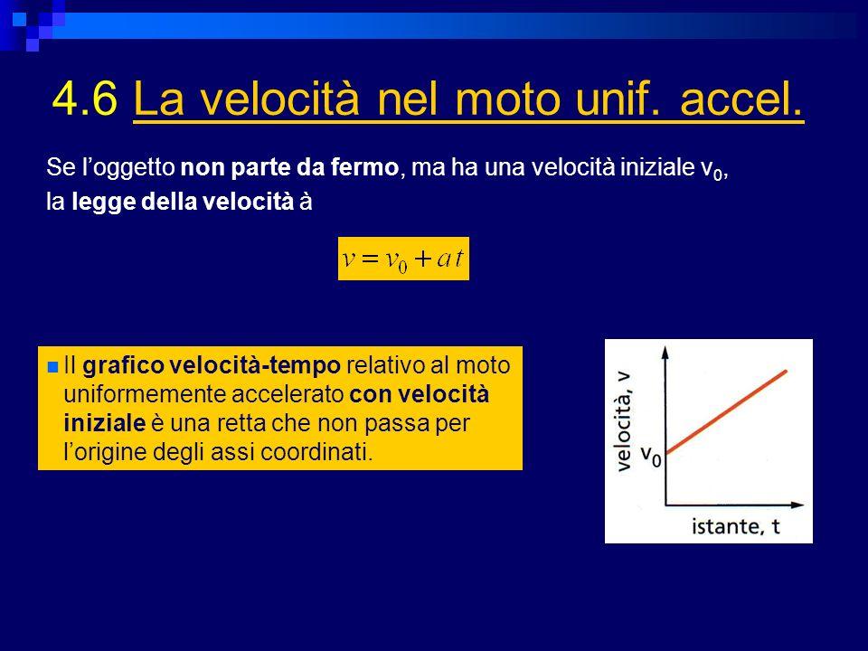 4.6 La velocità nel moto unif. accel.La velocità nel moto unif. accel. Il grafico velocità-tempo relativo al moto uniformemente accelerato con velocit