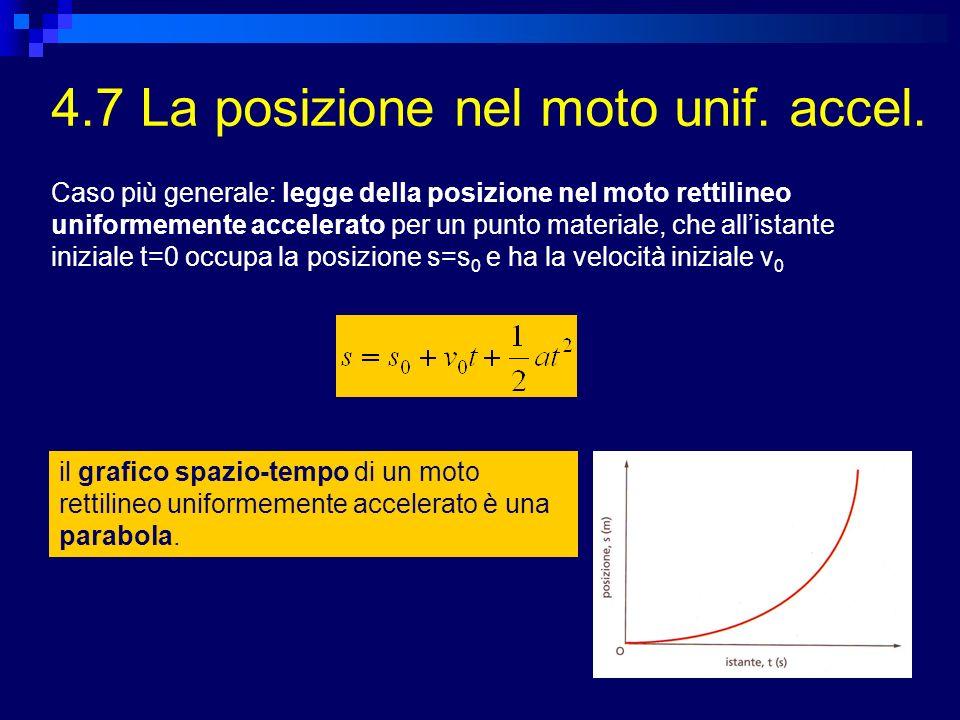 4.7 La posizione nel moto unif. accel. il grafico spazio-tempo di un moto rettilineo uniformemente accelerato è una parabola. Caso più generale: legge