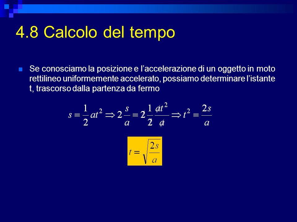 4.8 Calcolo del tempo Se conosciamo la posizione e laccelerazione di un oggetto in moto rettilineo uniformemente accelerato, possiamo determinare list
