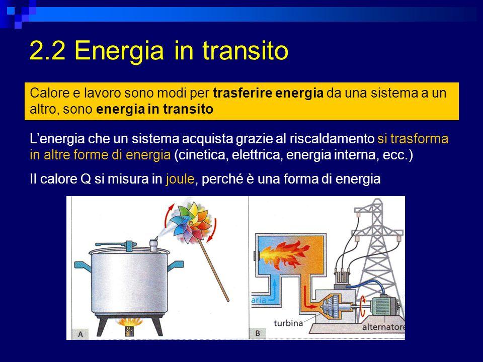 2.2 Energia in transito Calore e lavoro sono modi per trasferire energia da una sistema a un altro, sono energia in transito Lenergia che un sistema a