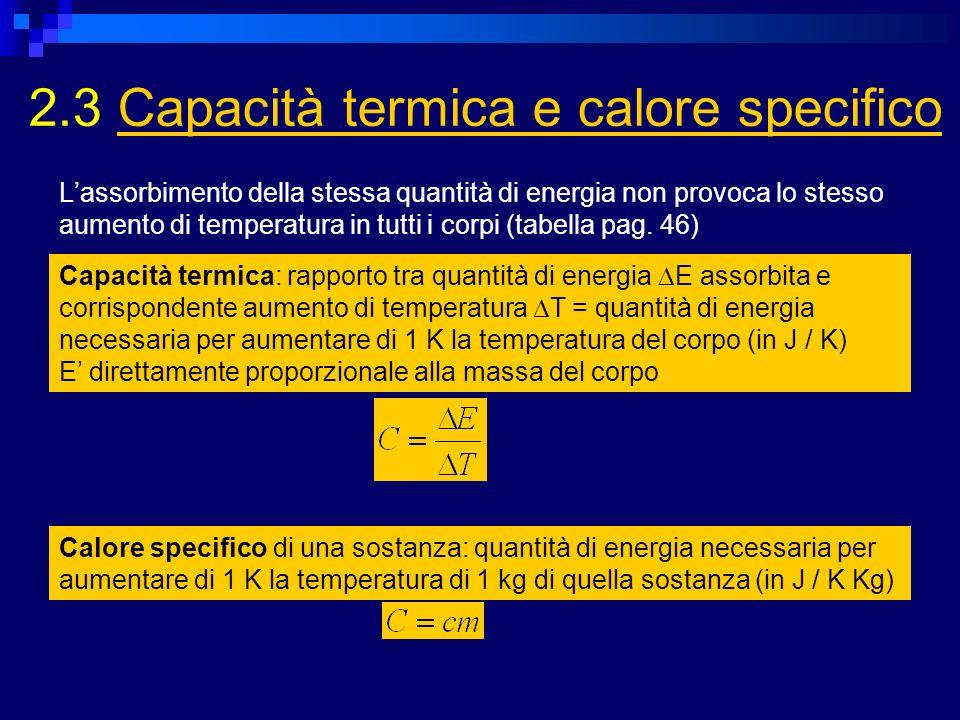 2.3 Capacità termica e calore specificoCapacità termica e calore specifico Capacità termica: rapporto tra quantità di energia E assorbita e corrispond