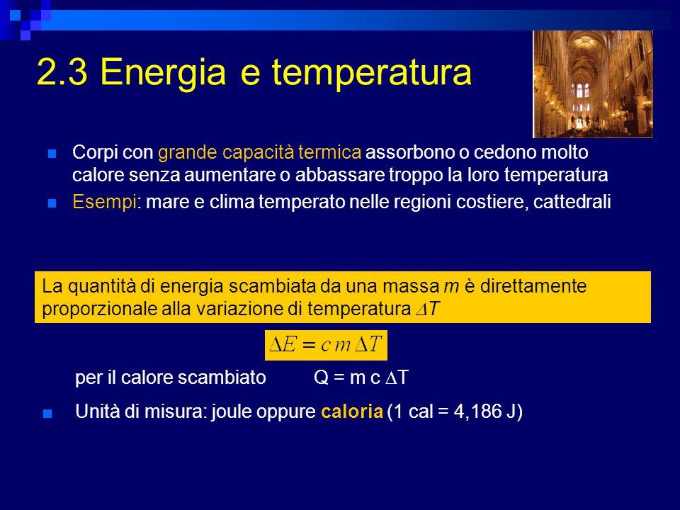 2.3 Energia e temperatura La quantità di energia scambiata da una massa m è direttamente proporzionale alla variazione di temperatura T per il calore