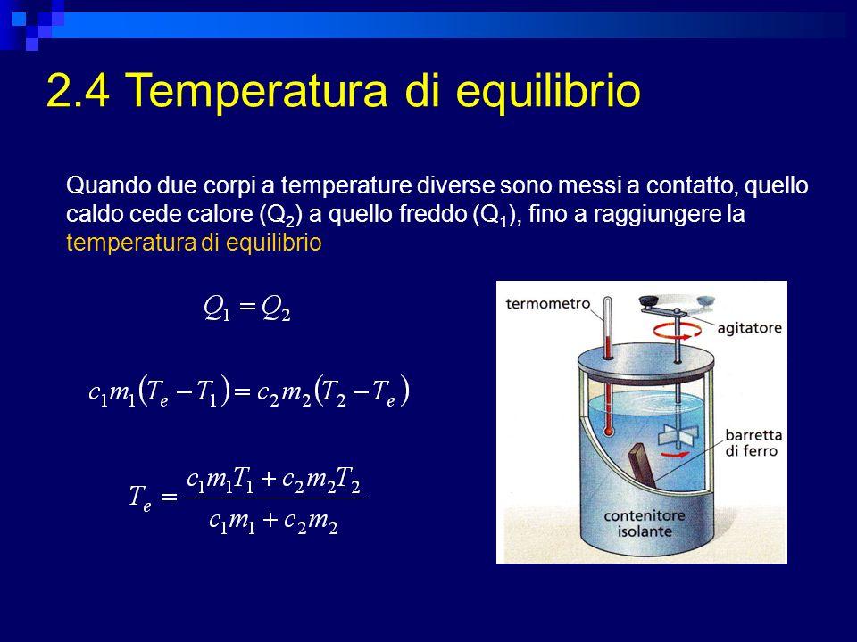 2.4 Temperatura di equilibrio Quando due corpi a temperature diverse sono messi a contatto, quello caldo cede calore (Q 2 ) a quello freddo (Q 1 ), fi