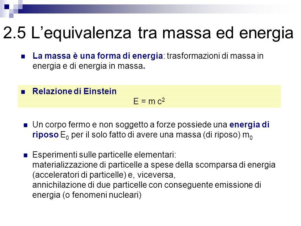 2.5 Lequivalenza tra massa ed energia La massa è una forma di energia: trasformazioni di massa in energia e di energia in massa. Relazione di Einstein