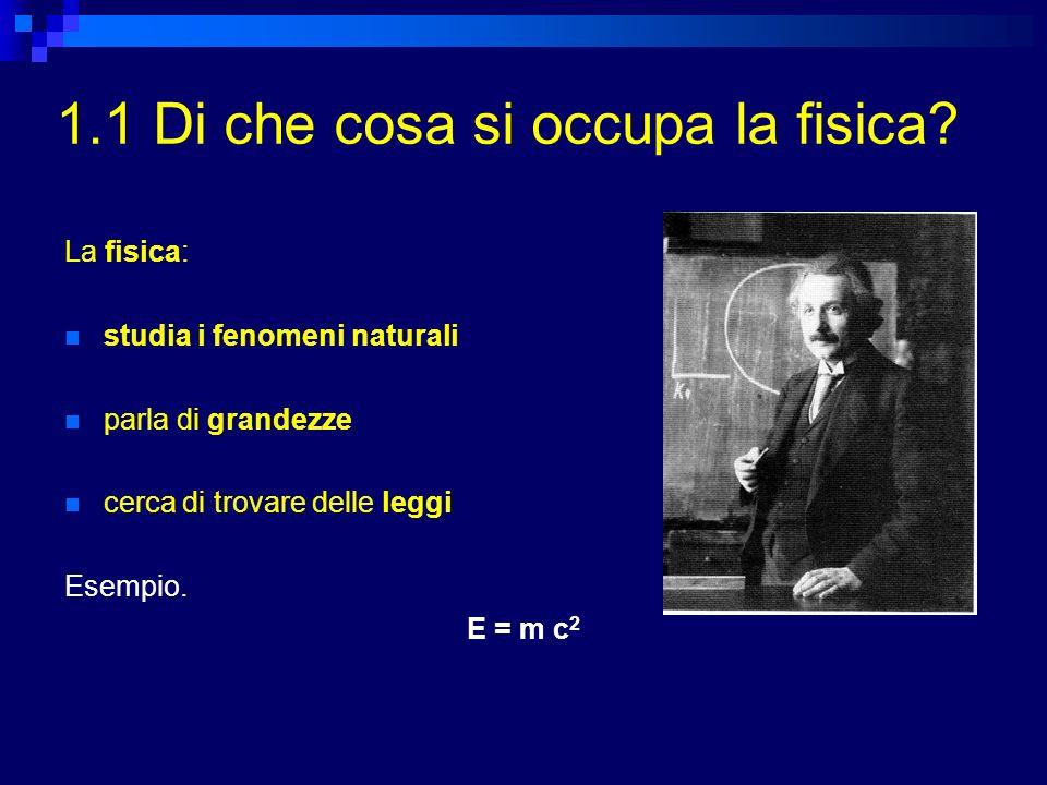 1.1 Di che cosa si occupa la fisica? La fisica: studia i fenomeni naturali parla di grandezze cerca di trovare delle leggi Esempio. E = m c 2