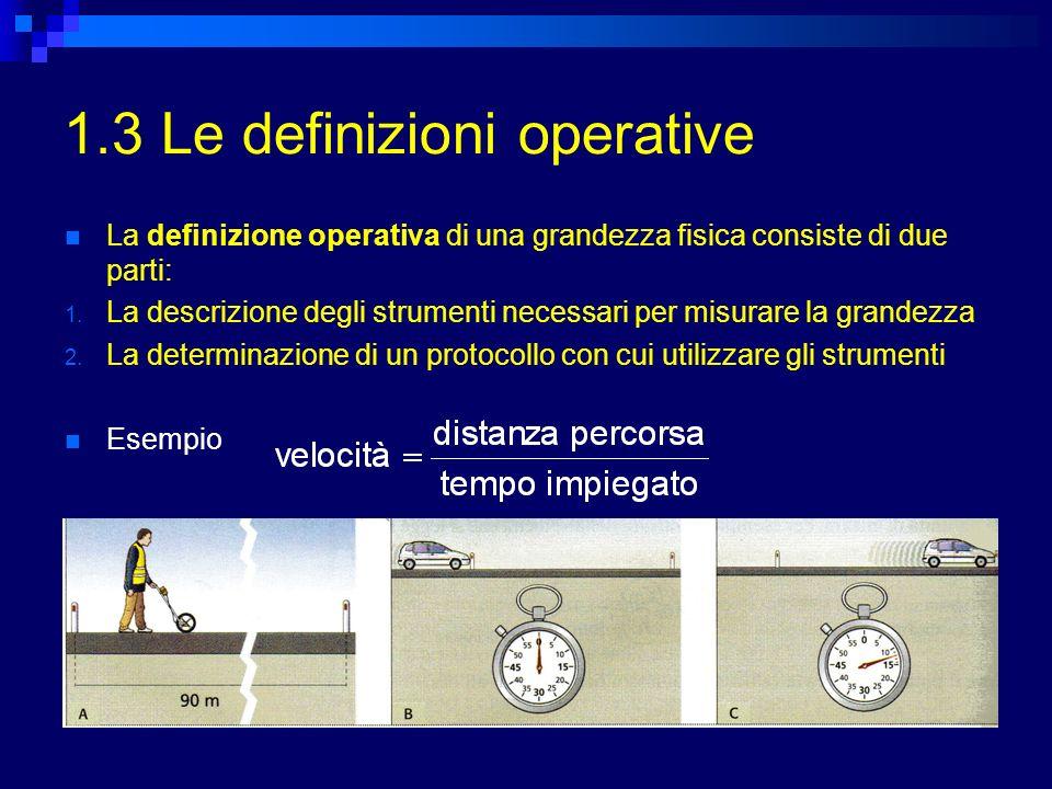 1.3 Le definizioni operative La definizione operativa di una grandezza fisica consiste di due parti: 1. La descrizione degli strumenti necessari per m