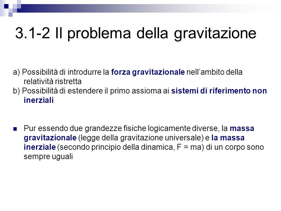 3.1-2 Il problema della gravitazione a) Possibilità di introdurre la forza gravitazionale nellambito della relatività ristretta b) Possibilità di este