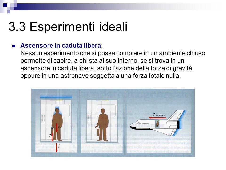 3.3 Esperimenti ideali Ascensore in caduta libera: Nessun esperimento che si possa compiere in un ambiente chiuso permette di capire, a chi sta al suo