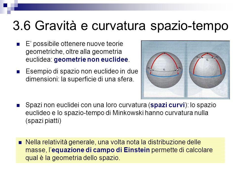 3.6 Gravità e curvatura spazio-tempo E possibile ottenere nuove teorie geometriche, oltre alla geometria euclidea: geometrie non euclidee. Esempio di