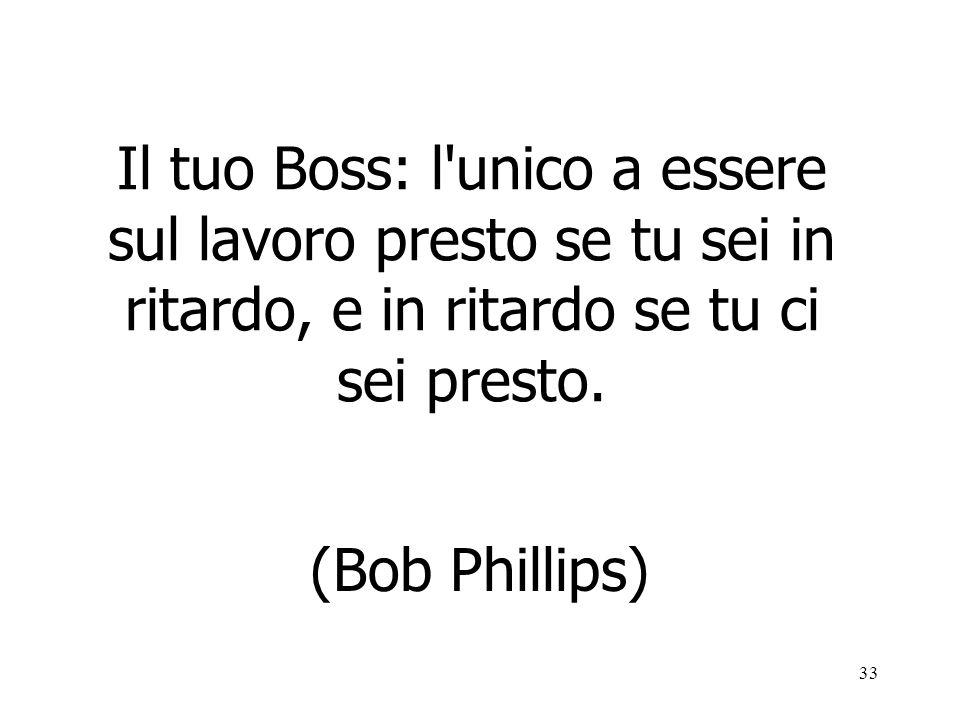 33 Il tuo Boss: l'unico a essere sul lavoro presto se tu sei in ritardo, e in ritardo se tu ci sei presto. (Bob Phillips)