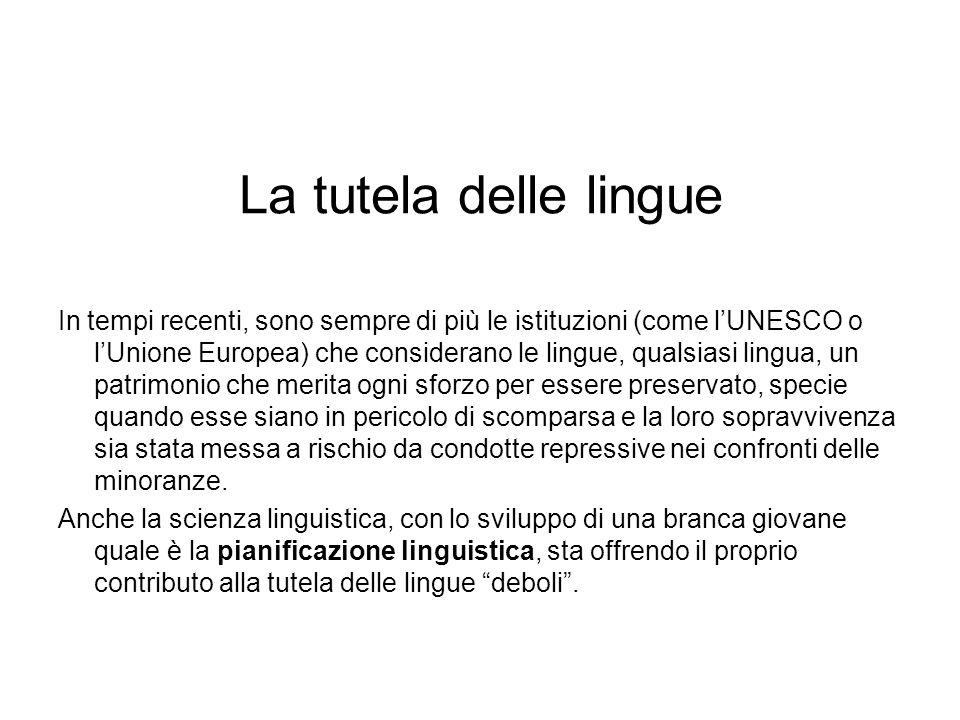 La tutela delle lingue In tempi recenti, sono sempre di più le istituzioni (come lUNESCO o lUnione Europea) che considerano le lingue, qualsiasi lingu