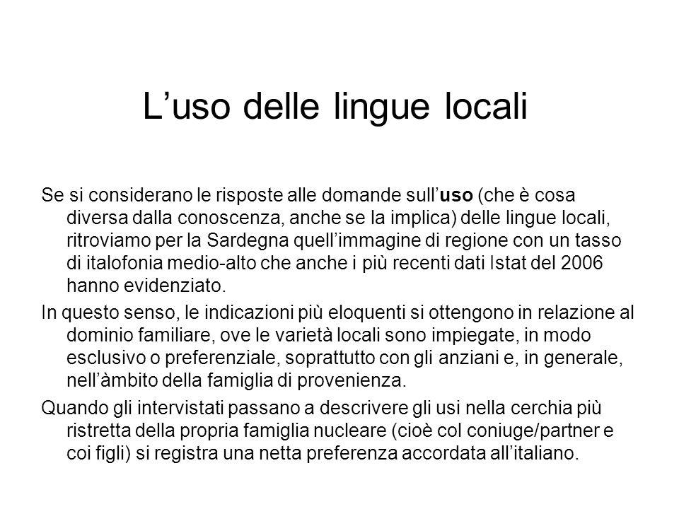 Luso delle lingue locali Se si considerano le risposte alle domande sulluso (che è cosa diversa dalla conoscenza, anche se la implica) delle lingue lo
