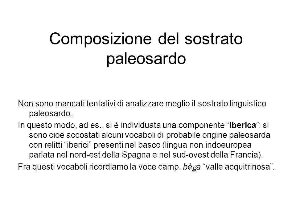 Composizione del sostrato paleosardo Non sono mancati tentativi di analizzare meglio il sostrato linguistico paleosardo. In questo modo, ad es., si è
