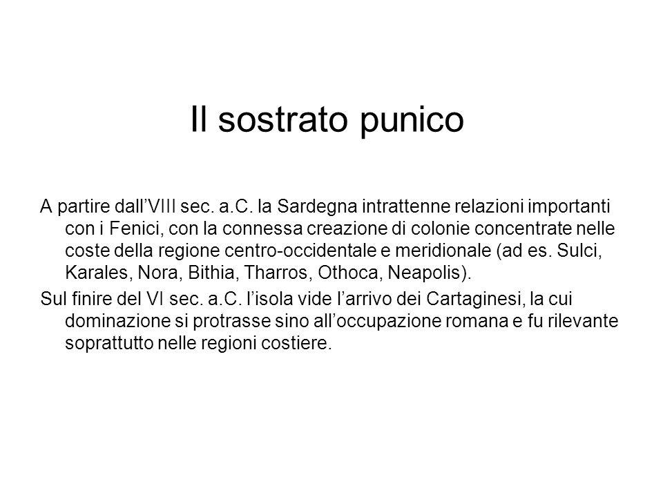 Il sostrato punico A partire dallVIII sec. a.C. la Sardegna intrattenne relazioni importanti con i Fenici, con la connessa creazione di colonie concen
