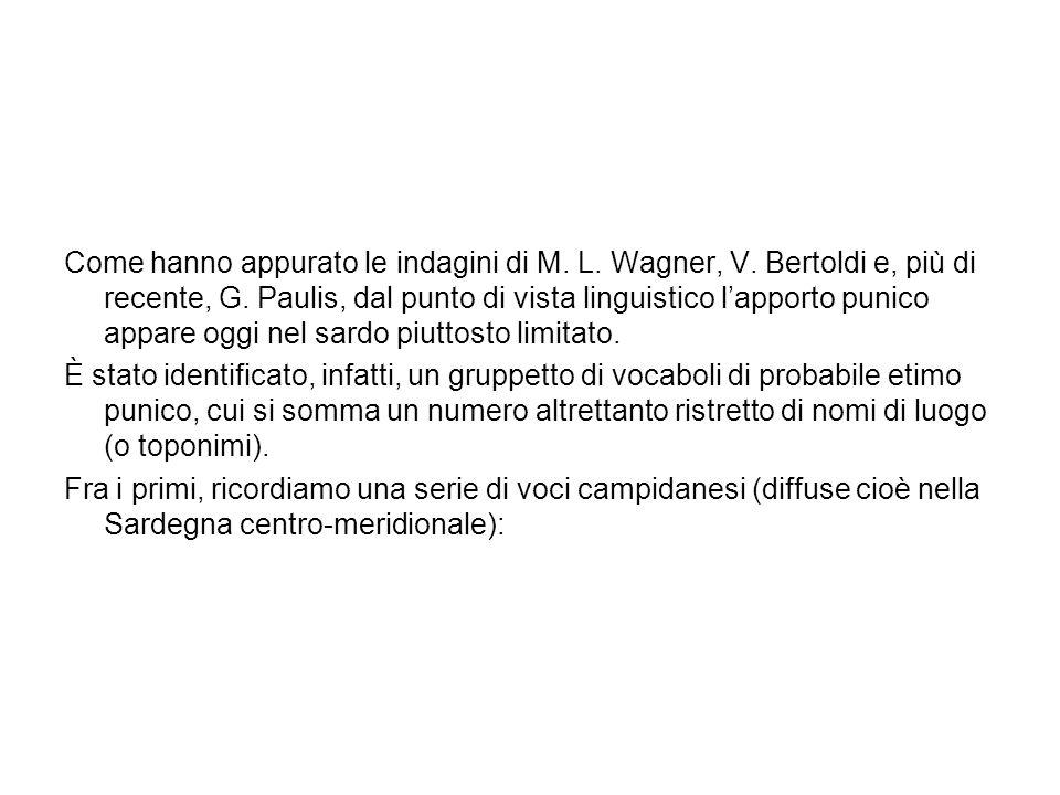 Come hanno appurato le indagini di M. L. Wagner, V. Bertoldi e, più di recente, G. Paulis, dal punto di vista linguistico lapporto punico appare oggi