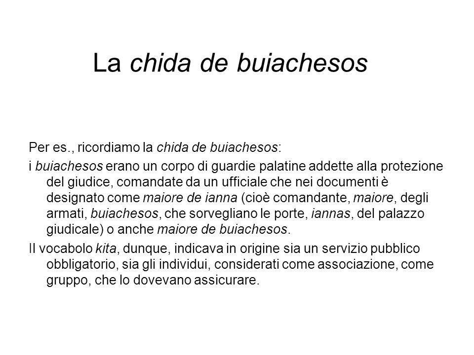 La chida de buiachesos Per es., ricordiamo la chida de buiachesos: i buiachesos erano un corpo di guardie palatine addette alla protezione del giudice