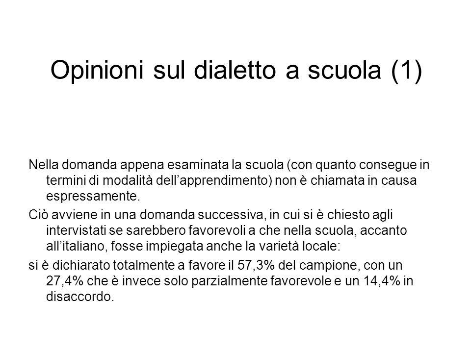 Opinioni sul dialetto a scuola (1) Nella domanda appena esaminata la scuola (con quanto consegue in termini di modalità dellapprendimento) non è chiamata in causa espressamente.