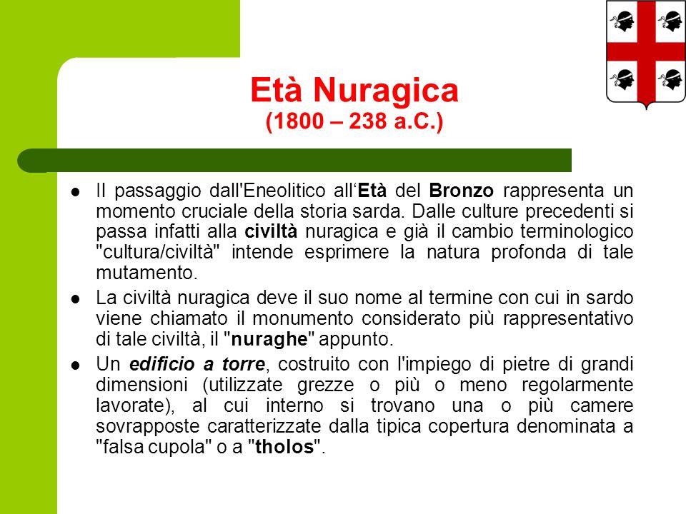 Età Nuragica (1800 – 238 a.C.) Il passaggio dall Eneolitico allEtà del Bronzo rappresenta un momento cruciale della storia sarda.