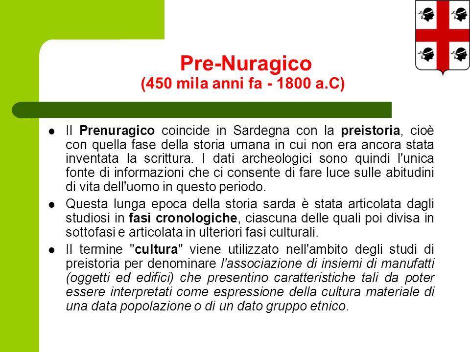 Pre-Nuragico (450 mila anni fa - 1800 a.C) Il Prenuragico coincide in Sardegna con la preistoria, cioè con quella fase della storia umana in cui non era ancora stata inventata la scrittura.