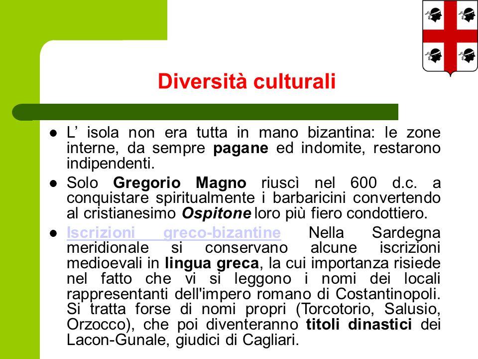 Diversità culturali L isola non era tutta in mano bizantina: le zone interne, da sempre pagane ed indomite, restarono indipendenti.