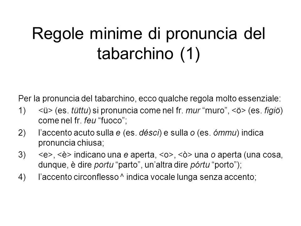 Regole minime di pronuncia del tabarchino (1) Per la pronuncia del tabarchino, ecco qualche regola molto essenziale: 1) (es. tüttu) si pronuncia come